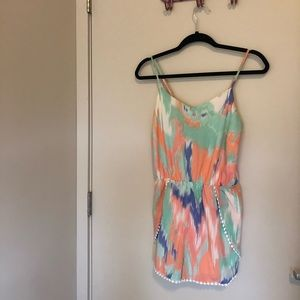 NWOT Watercolor Romper with Trim